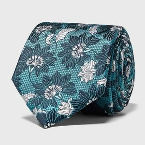 Zara wide floral Jacquard silk tie turquoise new